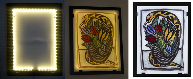 Paintings in Glass w LED Lighting